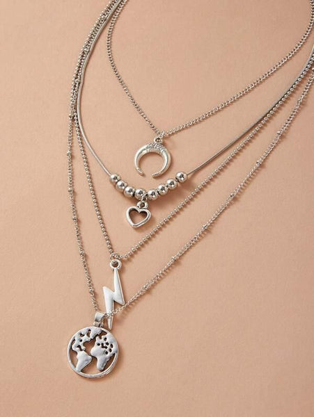 Map & Lightning Charm Necklace - Silver