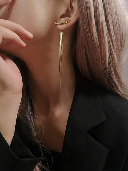 Curved Bar Dangle Earring - Gold - House of Angelica