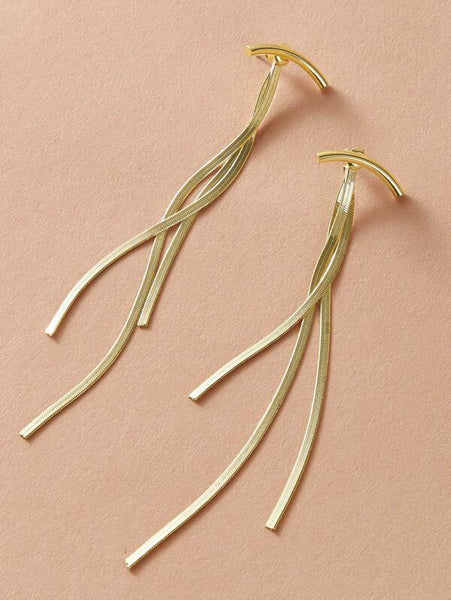 Curved Bar Dangle Earring - Gold