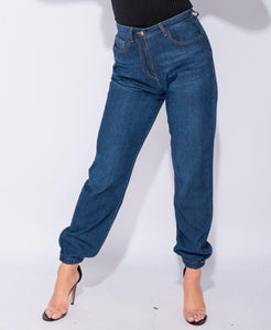 High waisted, jogger style denim pants