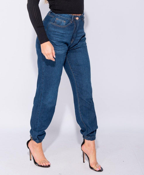 Anthea High Waisted Denim Joggers - House of Angelica