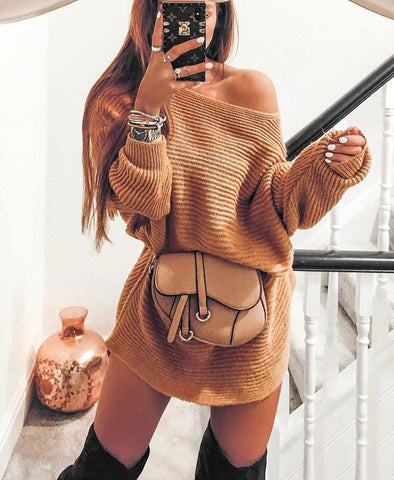 Oversized Knit Sweater Dress
