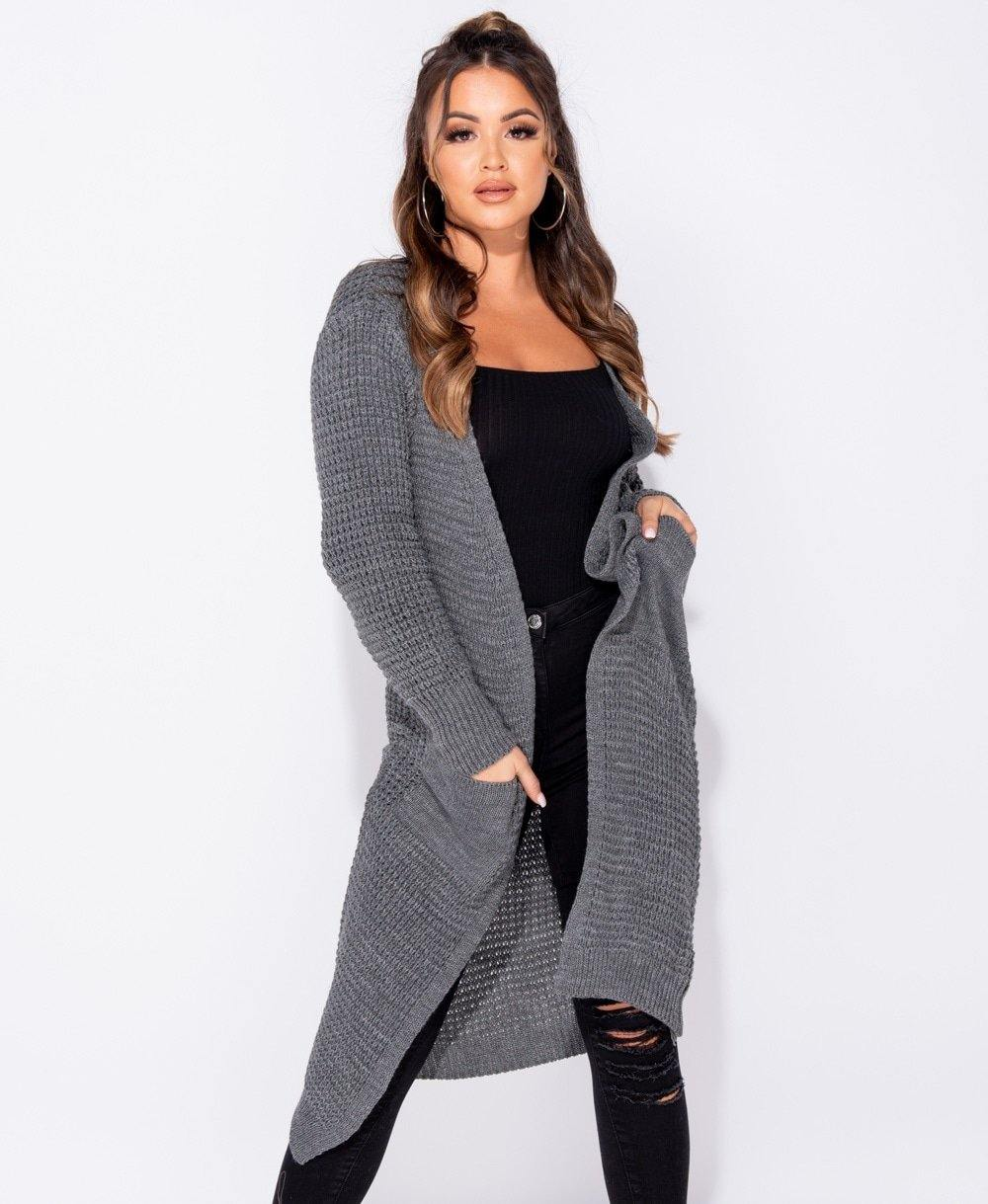 Ladies long sleeved, long length knit cardigan sweater in grey color with pockets