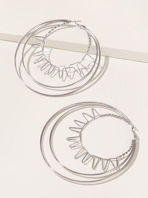 Earrings - Large Layered Hoop - Silver
