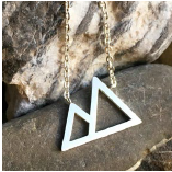 Necklace - 2 Triangles - Silver