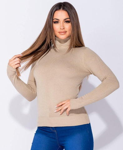 Soft Long Sleeve Turtle Neck in Tan Color