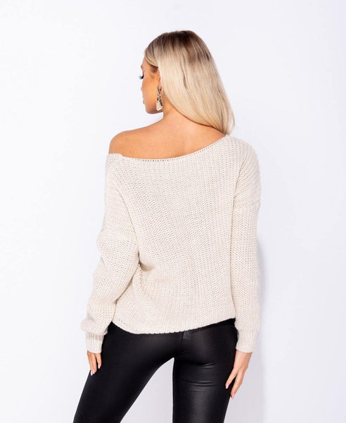 Calista - Ruched Front Sweater - Beige