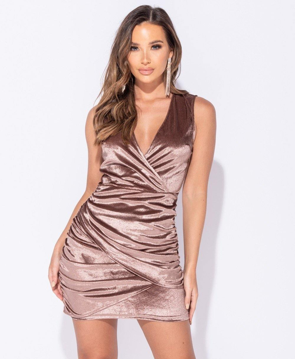 Velvet, sleeveless, mini dress in rose color