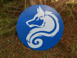 Arctic Wolf Wooden Shield - Bright Blue and Ice Blue - Painted, Stained, Sealed - Cosplay, Decor - CynCraft