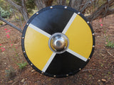 Queen Bee Wooden Shield - Yellow and Black Block Pattern - Silver-Tone Shield Boss - Cosplay, Decor - CynCraft