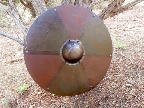 Earth Magic Wooden Shield - Green and Burnt Umber - Pewter-Tone Hardware - Cosplay, Decor - CynCraft