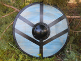 Lagertha Shieldmaiden Wooden Shield - Battle Blue - Hammered Black Shield Boss - Cosplay, Decor - CynCraft