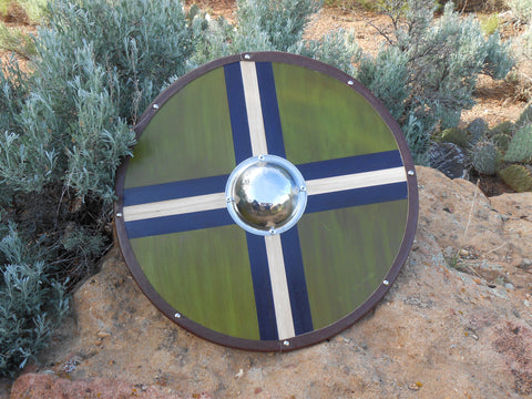 Olive and Navy Wooden Shield - Silver-Tone Shield Boss - Cosplay, Decor - CynCraft