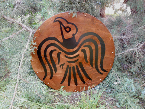 War Raven Wooden Shield - Copper-Toned Studs - Rich Wood Stain - Cosplay, Decor - CynCraft