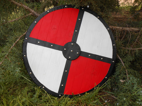 Red, White, and Black Wooden Shield - Silver-Toned Studs and Faux Leather Trim - Cosplay, Decor - CynCraft