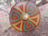 Autumn Spiral Wooden Shield - Harvest Colors - Brass-Tone Hardware - Cosplay, Decor - CynCraft