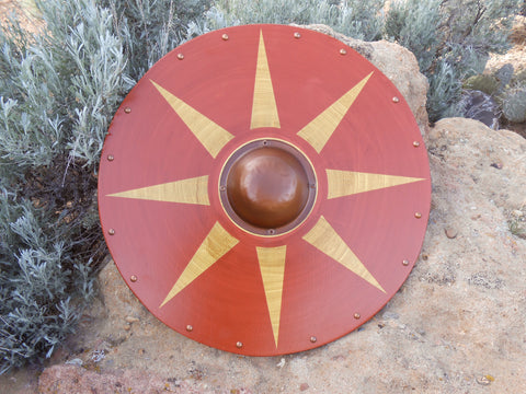 Sun Burst Wooden Shield - Burnt Orange, Mustard Yellow - Copper-Tone Shield Boss - Cosplay, Decor - CynCraft
