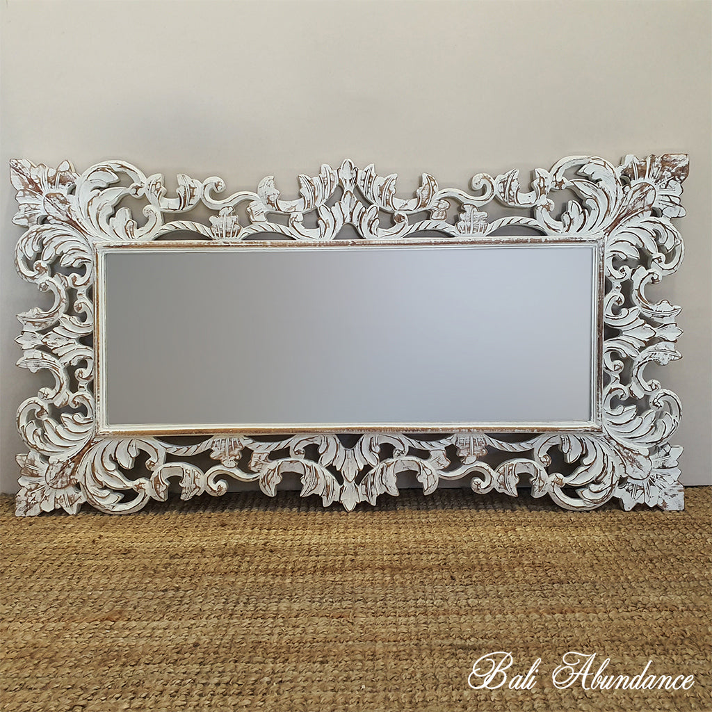 Hand Carved French Provincial Inspired WHITEWASH Mirror 150 x 80