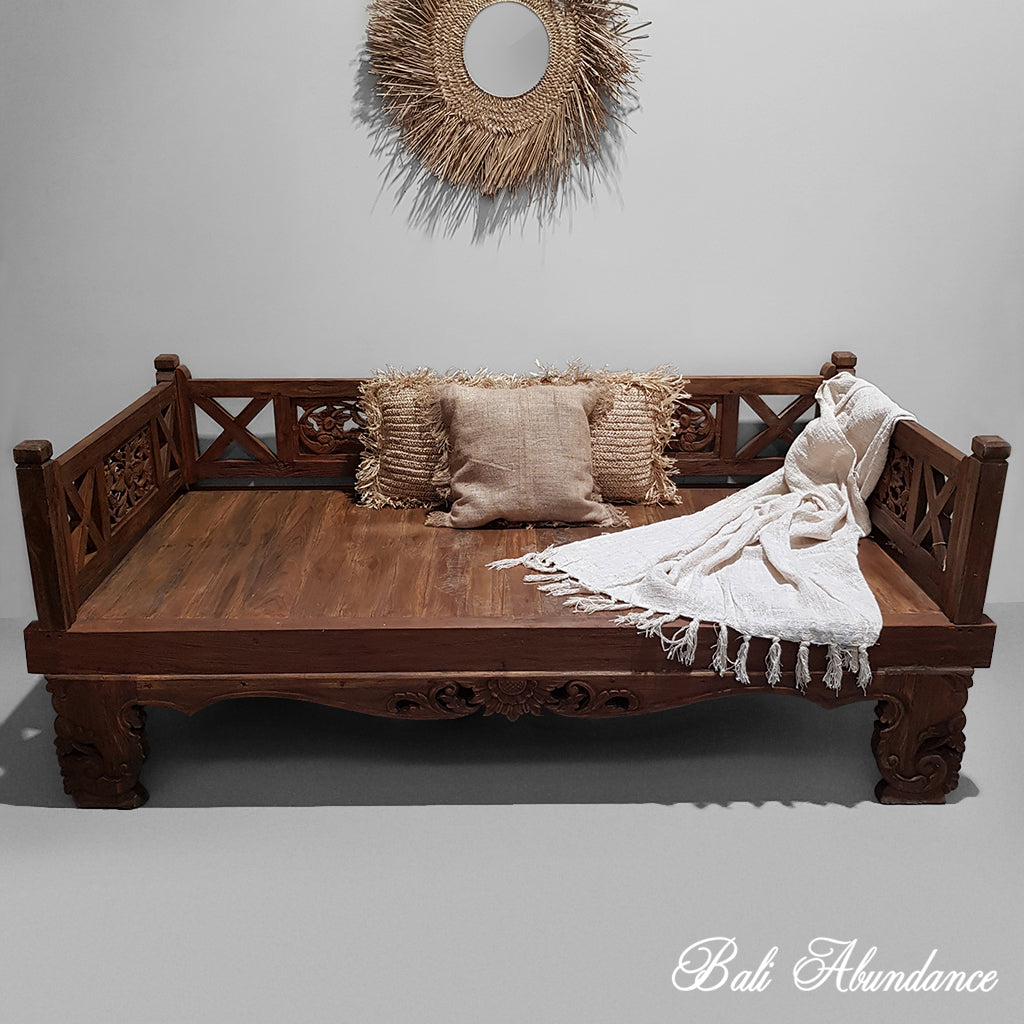 Balinese Hand Carved Large Natural Daybed