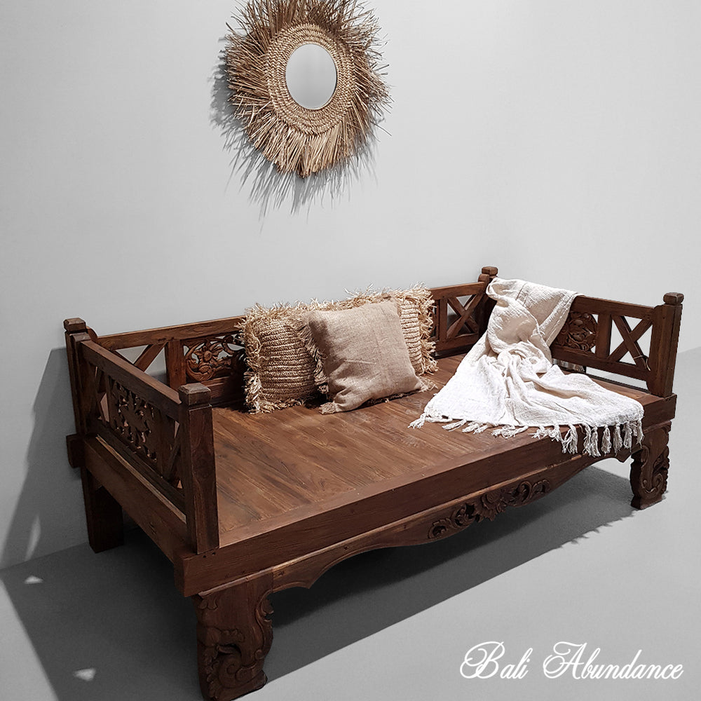Balinese Hand Carved Natural Daybed
