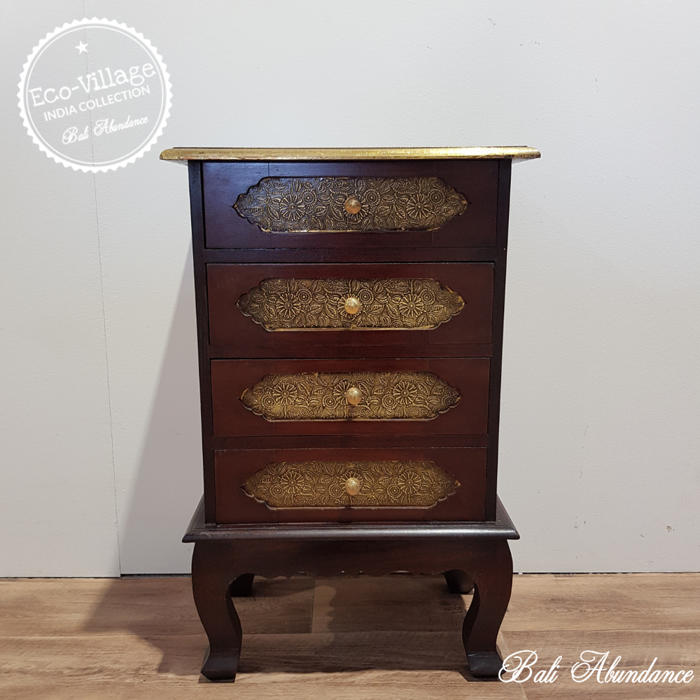 Indian Hand Carved Bedside Table with Brass Detail - Eco Village Collection