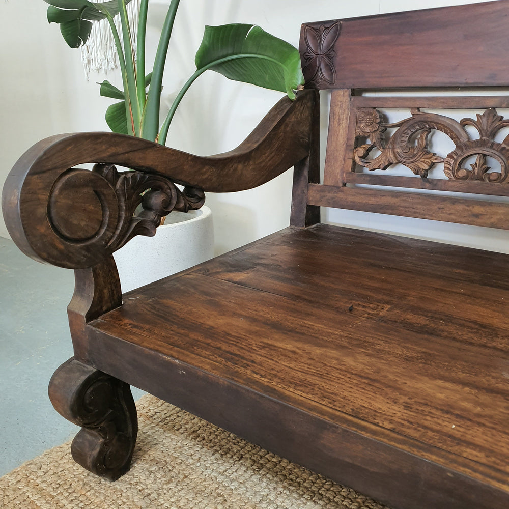 Balinese Hand Carved Mango Wood Chestnut Daybed