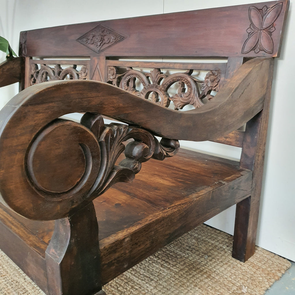 PRE ORDER Balinese Hand Carved Mango Wood Chestnut Daybed