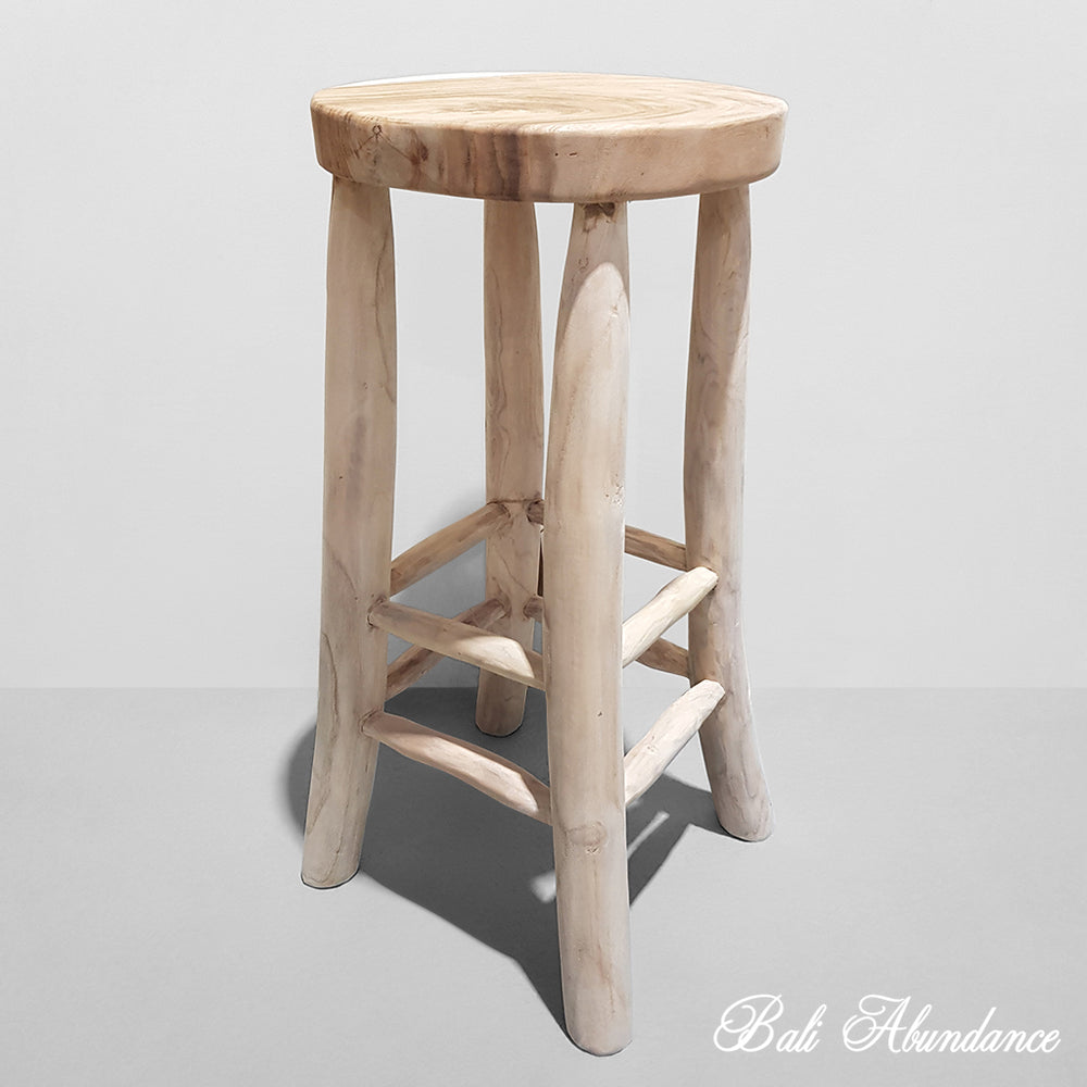 Hand Carved Natural Round Teak Bar Stool