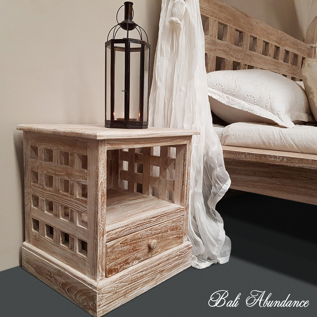 Hand Carved Teak MIMI Bedside Table in WHITEWASH