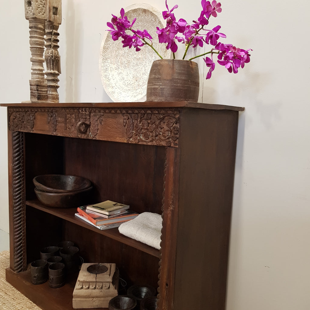 Vintage Indian Rosewood Bookshelf - Eco Village Collection