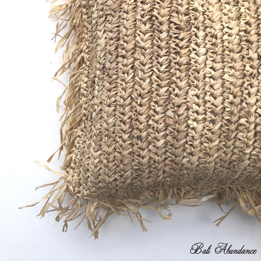 Raffia Cushion Cover with Fringe - Natural