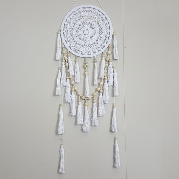 Hand Made White Coin Wooden Bead Tassel Dream Catcher