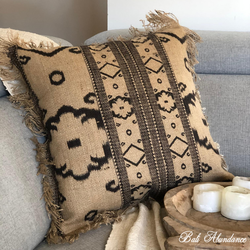 Brown Patterned Hessian Cushion Cover 50 x 50