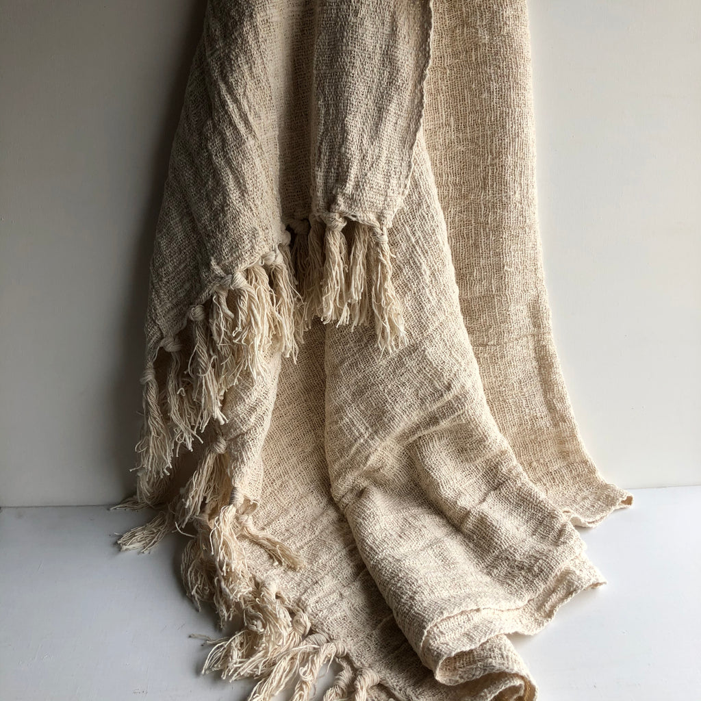 Throw Blanket with Fringe - Natural