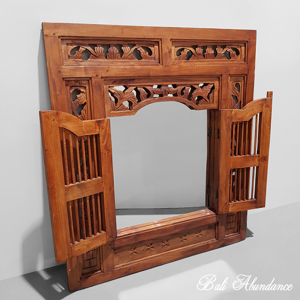 Balinese Hand Carved Rich Chestnut Prison Mirror