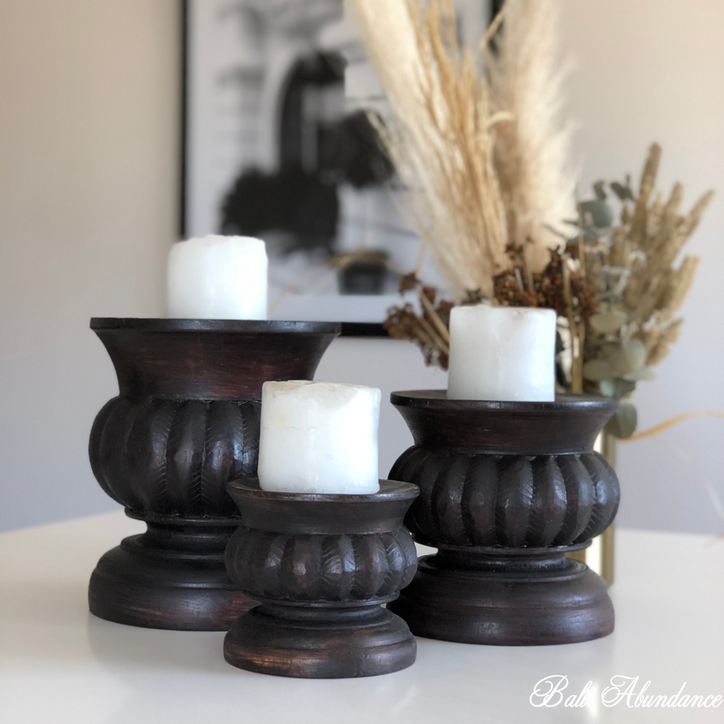Candle Pillar Walnut - Medium