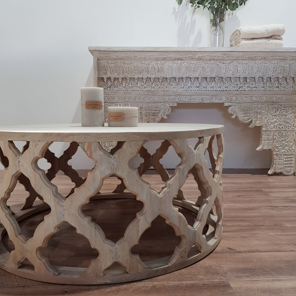 Indian Round Hand Carved Coffee Table - Eco Village Collection 12U