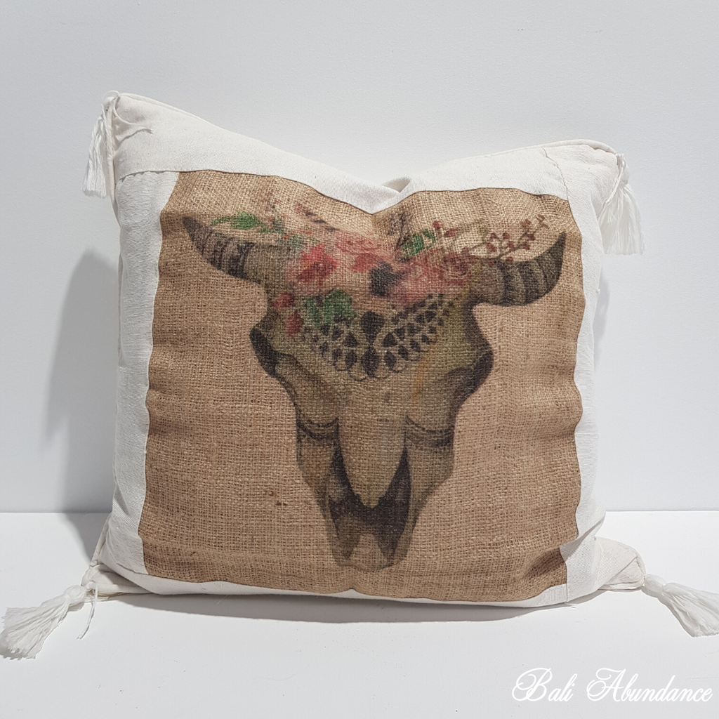 Hessian Buffalo Head Cushion Cover 130N