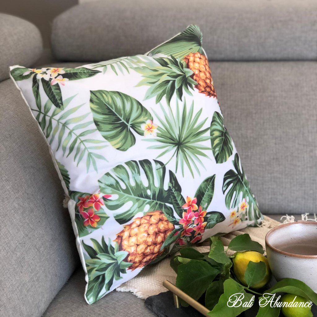 Green Leaf & Pineapple Cushion Cover