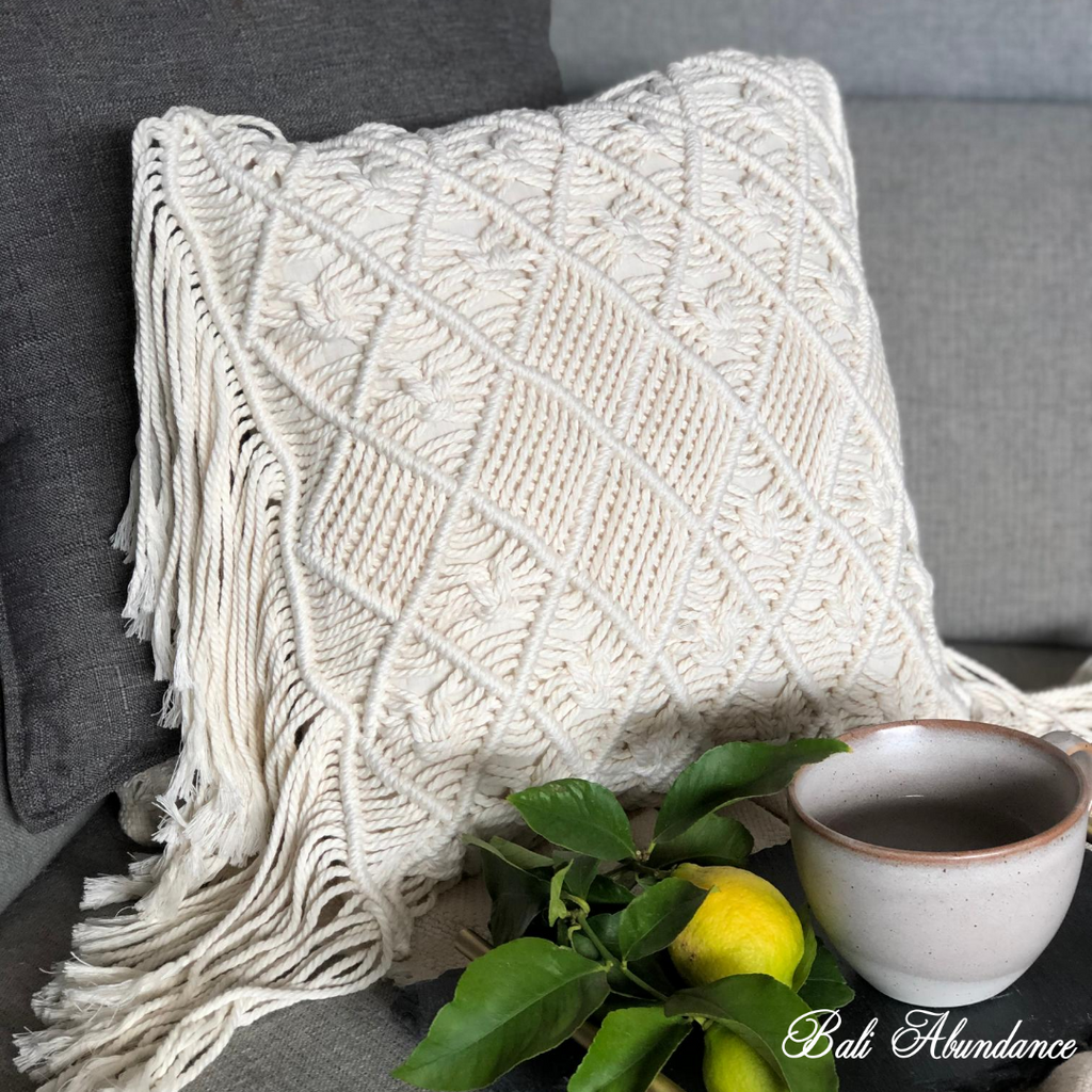 Macrame Cushion Cover with Fringe - Cream