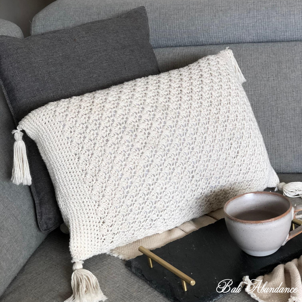 Macrame Oblong Cushion Cover with Tassels
