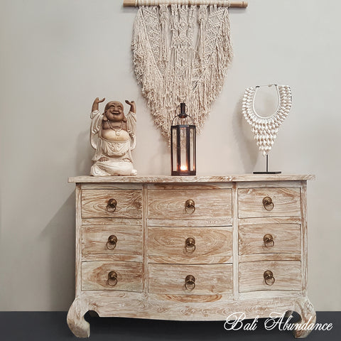 OPIUM 9 Drawer Hand Carved Tallboy Whitewash