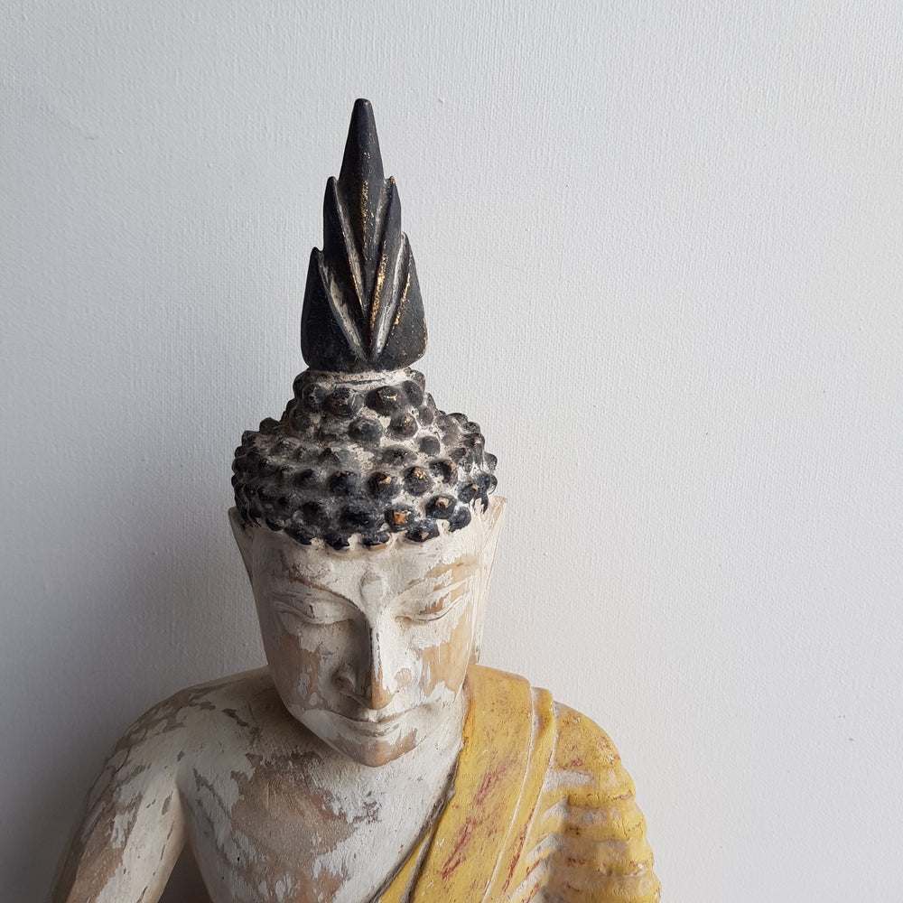 Balinese Vintage Whitewash Yellow Buddha 143L