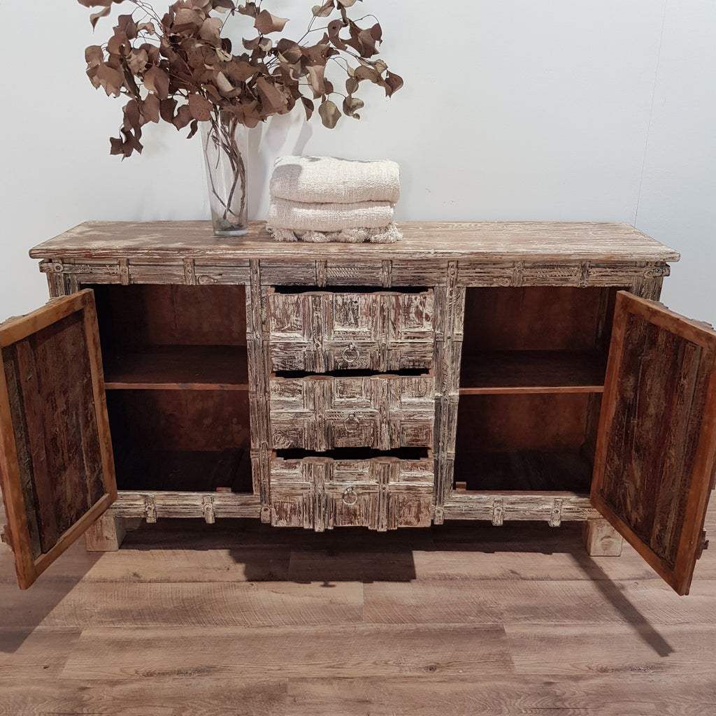 Indian Whitewash Carved Sideboard - Eco Village Collection 14U