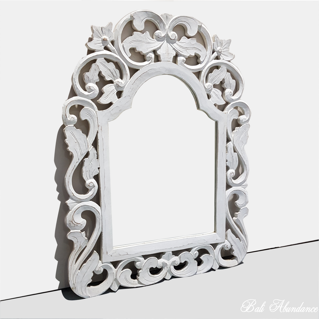 Hand Carved French Provincial Inspired WHITE Mirror 80 x 60