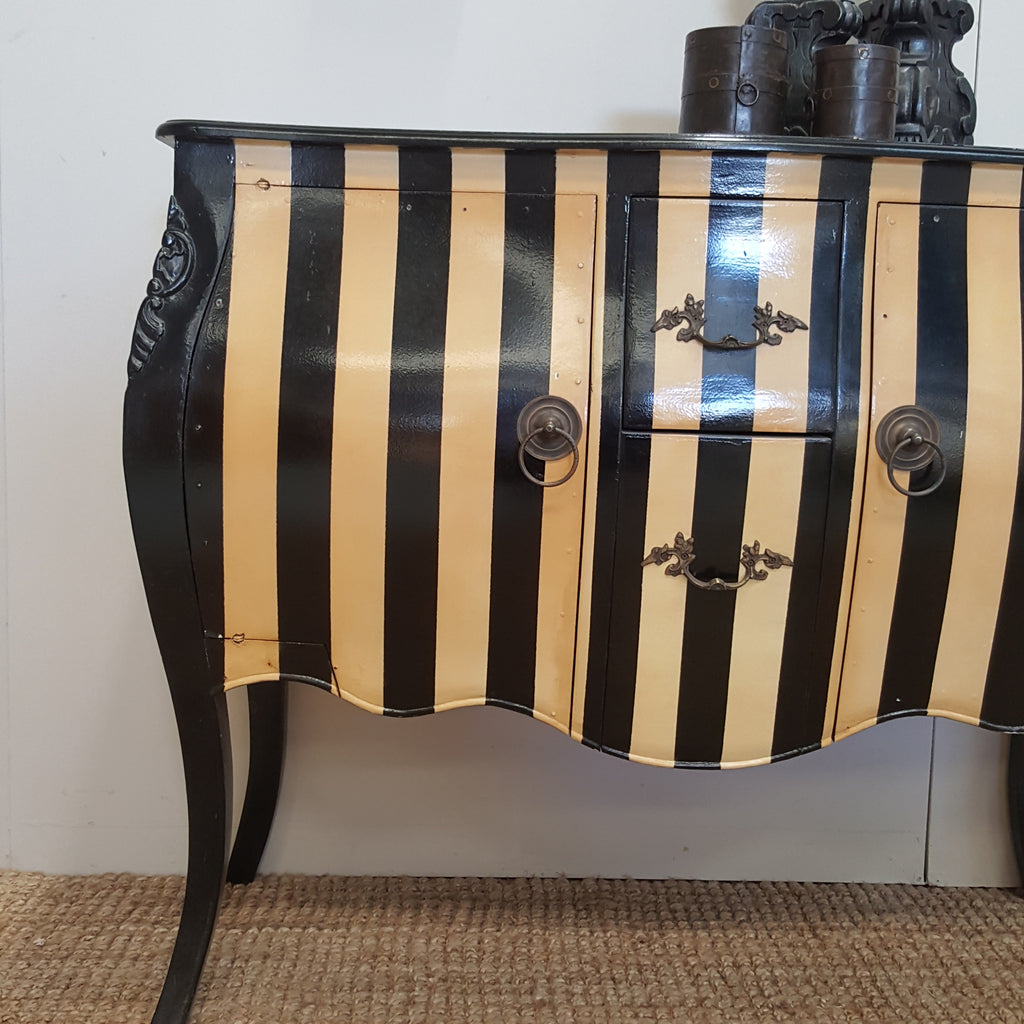 Black Stripe Bombay Chest with Brass Handles