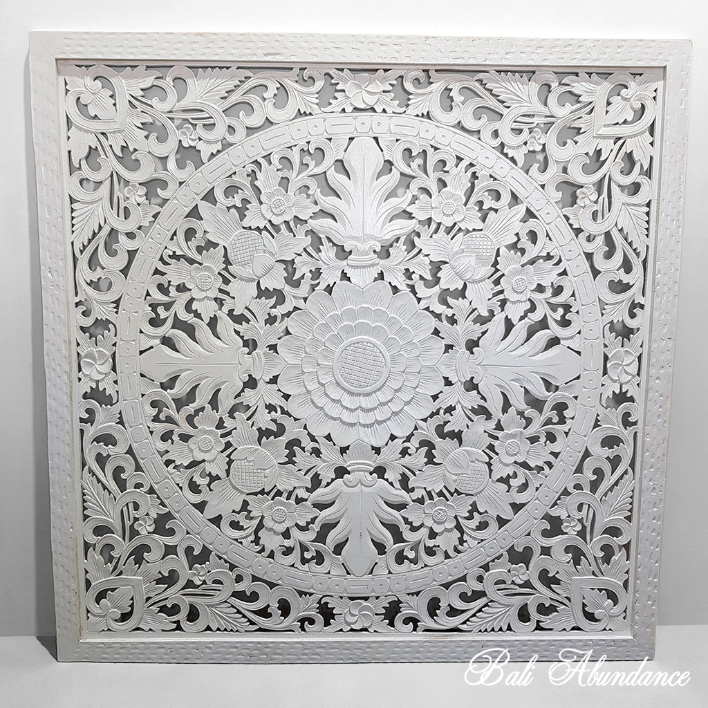 Hand Carved WHITE Bed Head Panel 160 X 160