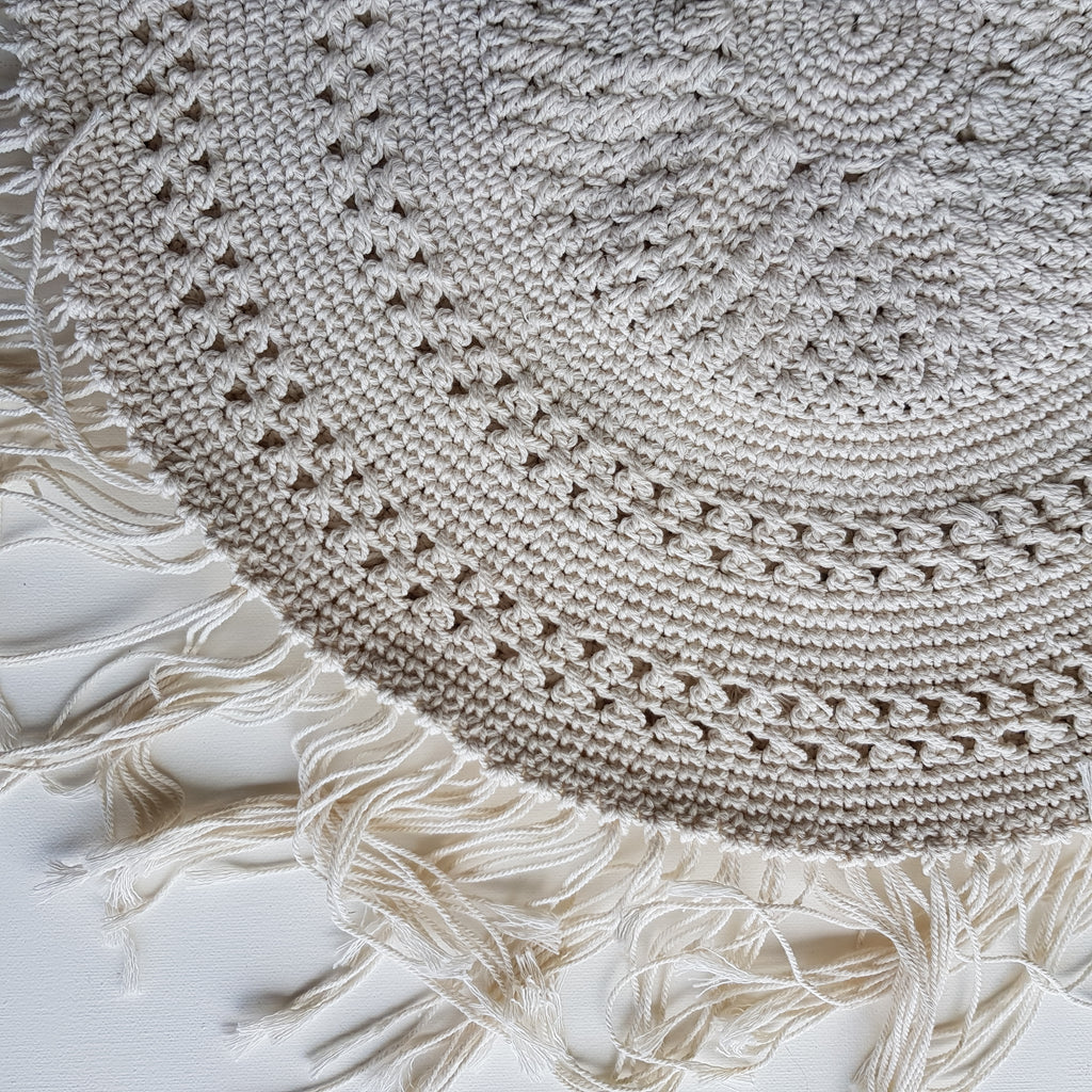 Round Macrame Cushion Cover - Cream