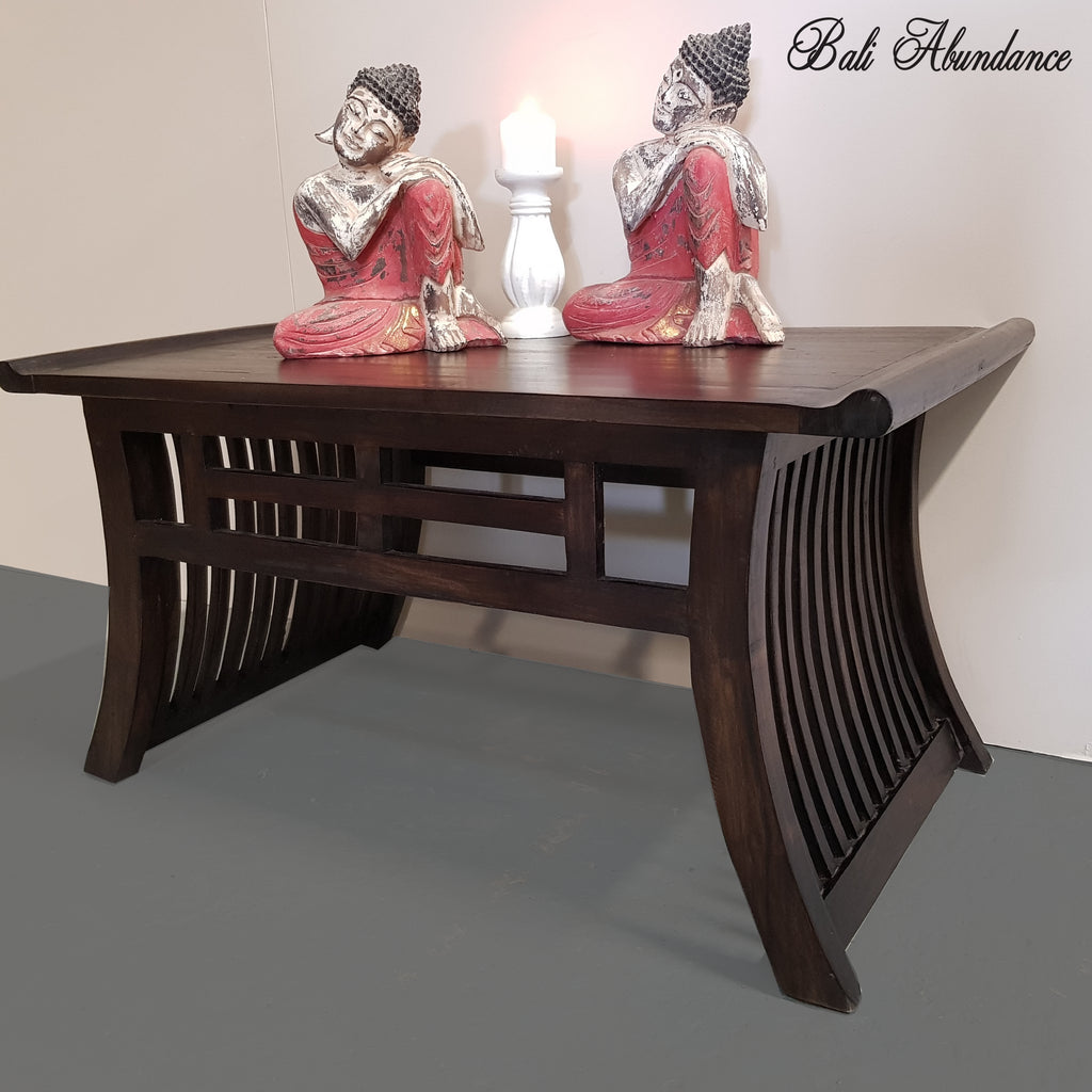 Hand Carved Minimalistic Teak Wood Walnut Coffee Table