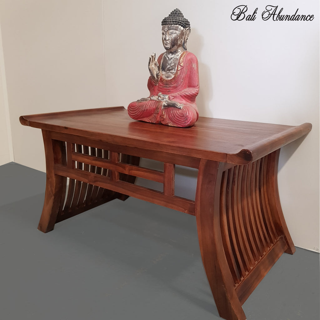 Hand Carved Minimalistic Teak Wood Chestnut Coffee Table ...